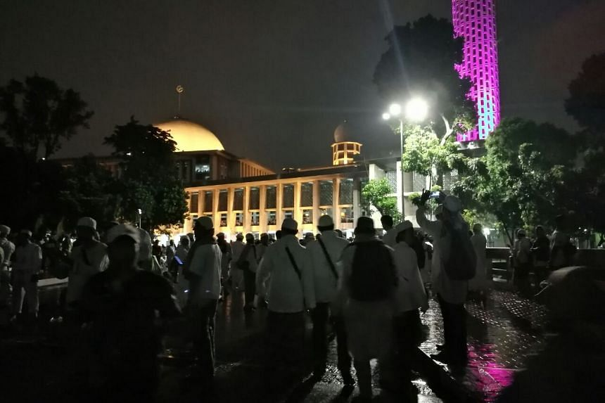 Many had arrived at the mosque in the heart of Jakarta as early as Friday midnight, but their numbers were nowhere near the hundreds of thousands that turned up during the previous anti-Ahok rallies held in the city last November and December.