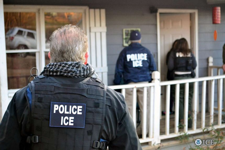 US Immigration and Customs Enforcement (ICE) officers conduct a targeted enforcement operation in Atlanta, Georgia.