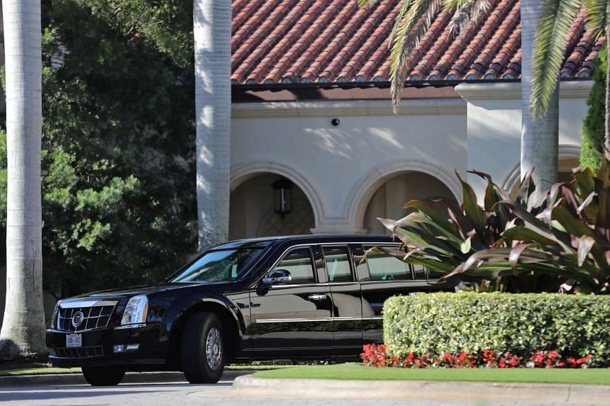 The President's limousine is seen at Trump National Golf Club, in Jupiter, Florida, Feb 11, 2017