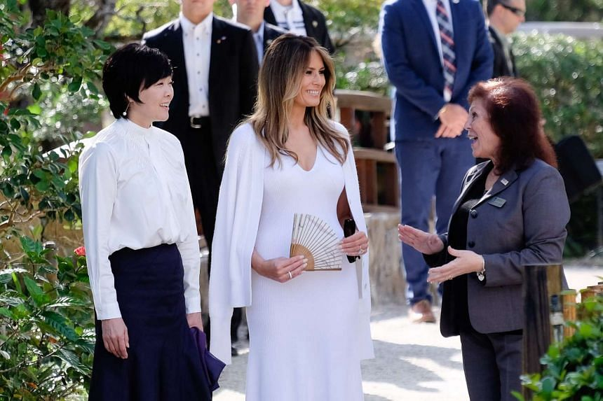 US First Lady Melania Trump and Akie Abe, wife of Japanese Prime Minister Shinzo Abe, tour Morikami Museum and Japanese Gardens.
