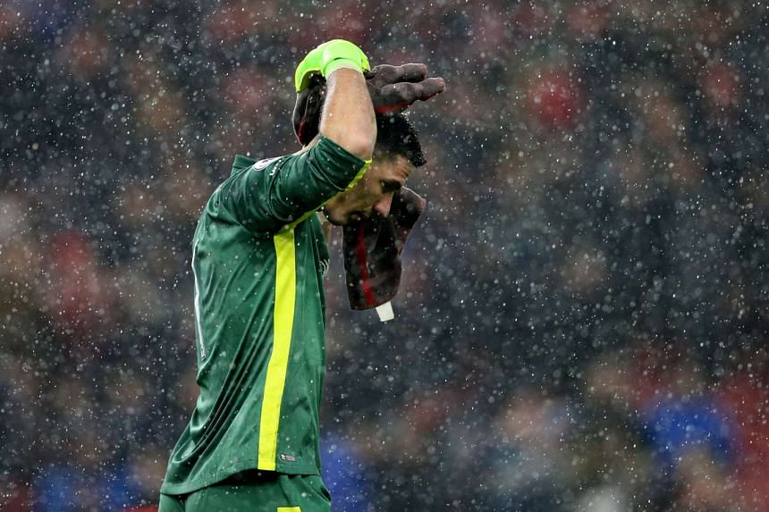 Everton's Joel Robles looks dejected during the match.