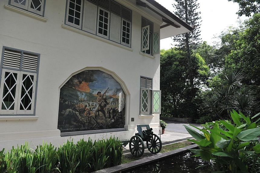Far left: A replica of the six-inch breech-loading MK VII gun at Fort Siloso that was aimed southwards to sea in anticipation of a naval attack during World War II. Left: Reflections at Bukit Chandu, the colonial bungalow that houses a memorial dedic