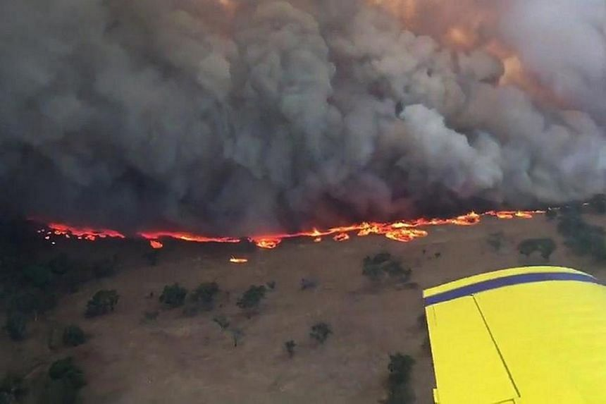 An aerial view of the Sir Ivan fire taken from an aircraft in Australia's New South Wales (NSW) Central West region on Feb 12, 2017.