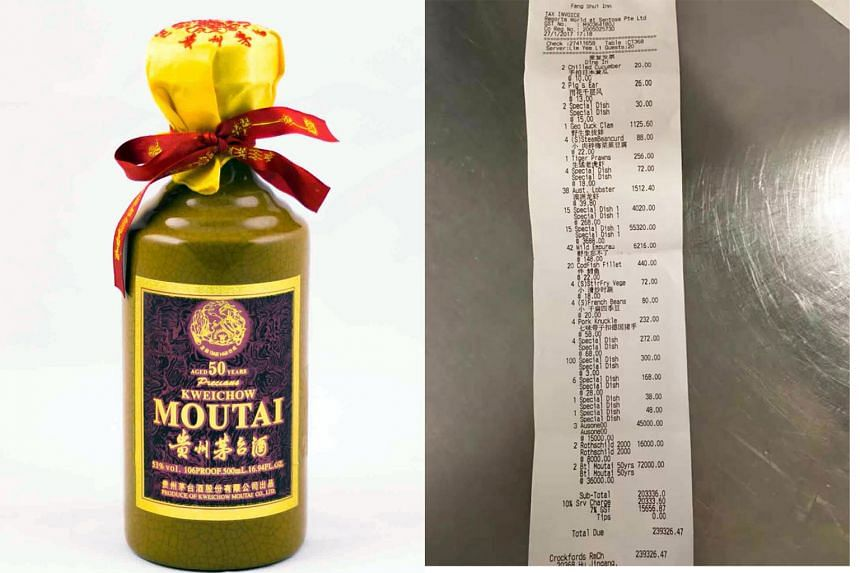 Right: Two bottles of Moutai, costing $36,000 each, were part of the $240,000 bill.  Left: Moutai is distilled from fermented sorghum and wheat, and has an average alcohol content of 53 per cent by volume. PHOTO: STOMP