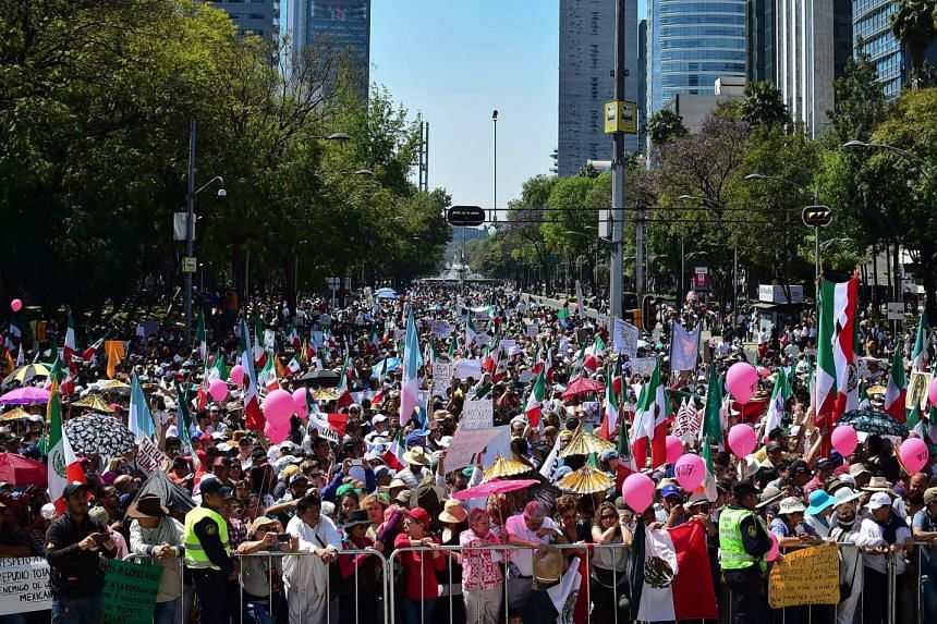 Thousands of Mexicans take part in an anti-Trump march in Mexico City, on Feb 12, 2017.