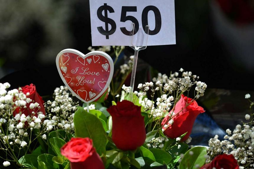 Roses are seen for sale for Valentine's Day in Sydney on Feb 13, 2017.