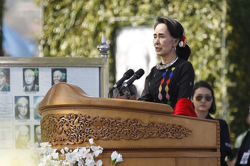 Ms Suu Kyi addressing ethnic representatives during the 70th anniversary of Myanmar's Union Day. Yesterday, she urged ethnic groups who had not joined the peace process to sign the landmark deal and participate in the 21st Century Panglong Conference