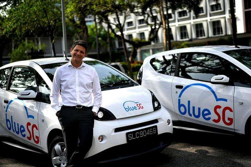 Blue Solutions managing director (Asia and Middle East) Franck Vitte with the battery-powered hatchbacks.