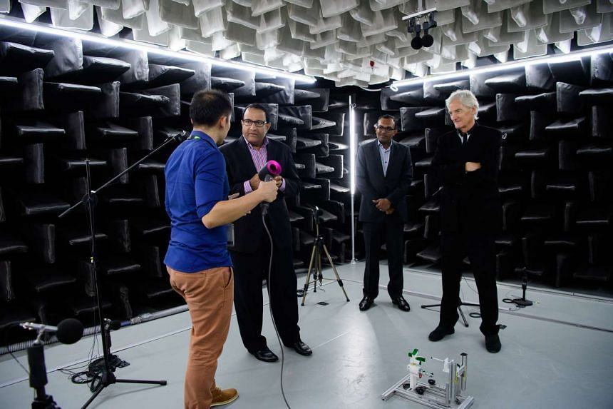 Trade and Industry Minister (Industry) S Iswaran and Mr James Dyson at the launch of Dyson's new research and development centre in Science Park on Monday (Feb 13).
