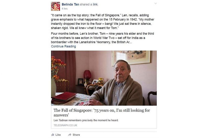 A Facebook post about Mr Len Tadman, a Briton who spent the past 75 years trying to find information about his brother Tom who died defending Singapore in World War Two.