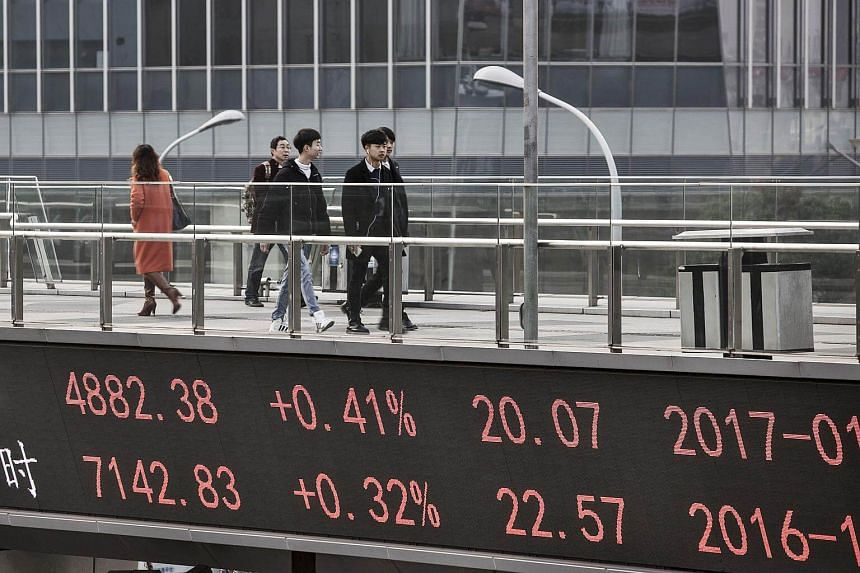 A ticker displaying stock market figures at a walkway in Shanghai, China, on Jan 4, 2017.