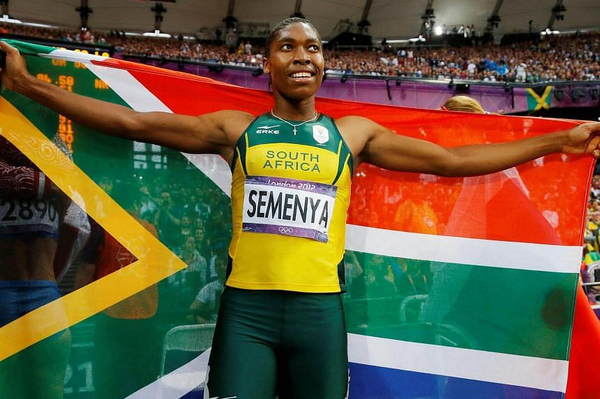 South Africa's Caster Semenya celebrating after winning silver in the women's 800m final at the London 2012 Olympic Games on Aug 11, 2012.