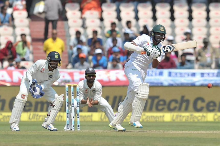 Bangladesh's Shakib Al Hasan playing a shot on the third day of a solo Test match between India and Bangladesh on Feb 11, 2017.