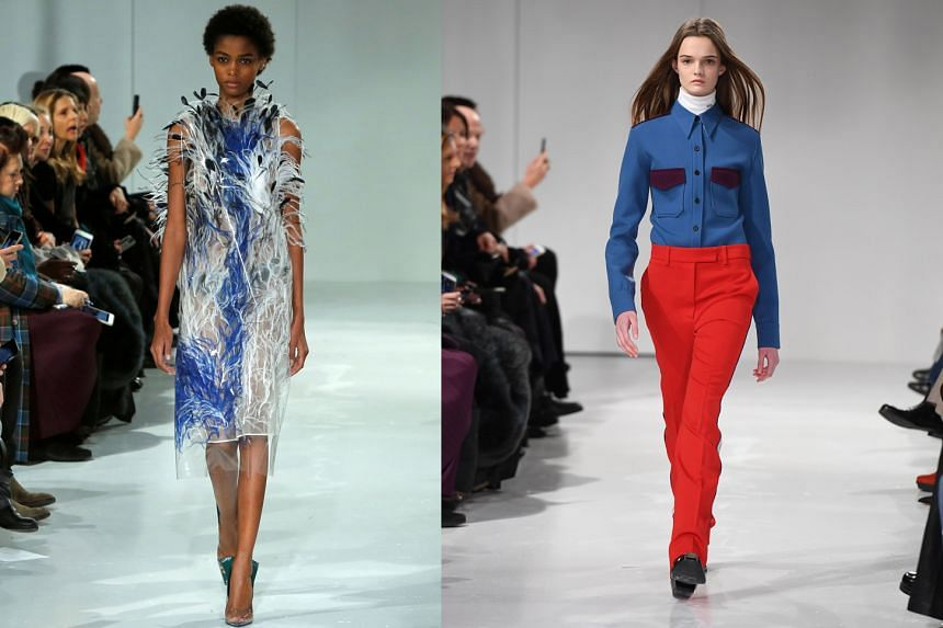 The collection included plastic sheath dresses covered in feathers (left) and button-up Western-pocket shirts over turtlenecks (right).