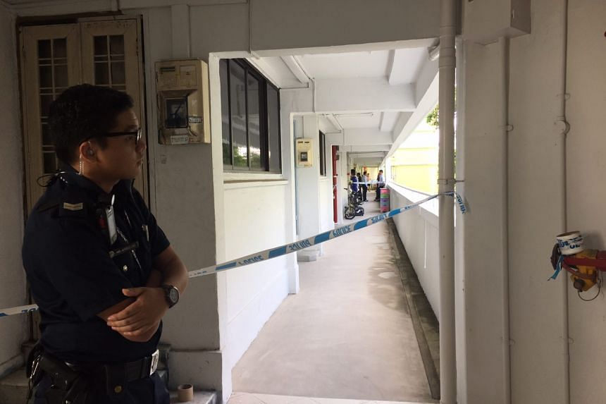 Police tape being used to cordon off the area near a flat in Tampines, after a woman was found dead, on Feb 13, 2017.