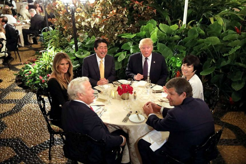 Japanese Prime Minister Shinzo Abe and his wife Akie Abe attending dinner with US President Donald Trump and his wife Melania at Mar-a-Lago Club in Palm Beach, Florida, on Feb 10, 2017.