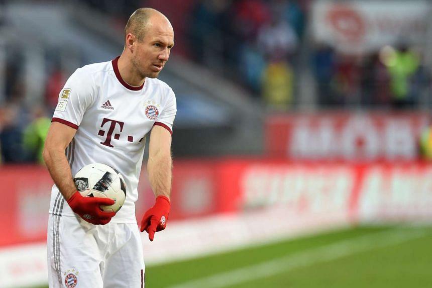 Bayern Munich's Dutch midfielder Arjen Robben gestures during the German First division Bundesliga football match between FC Ingolstadt 04 and Bayern Munich, on Feb 11, 2017.