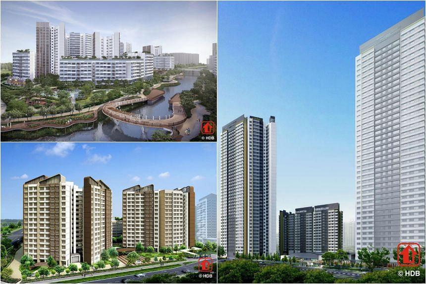Three of the new BTO projects (clockwise from top left) Waterway Sunrise II in Punggol, Tampines GreenBloom and Clementi Peaks.