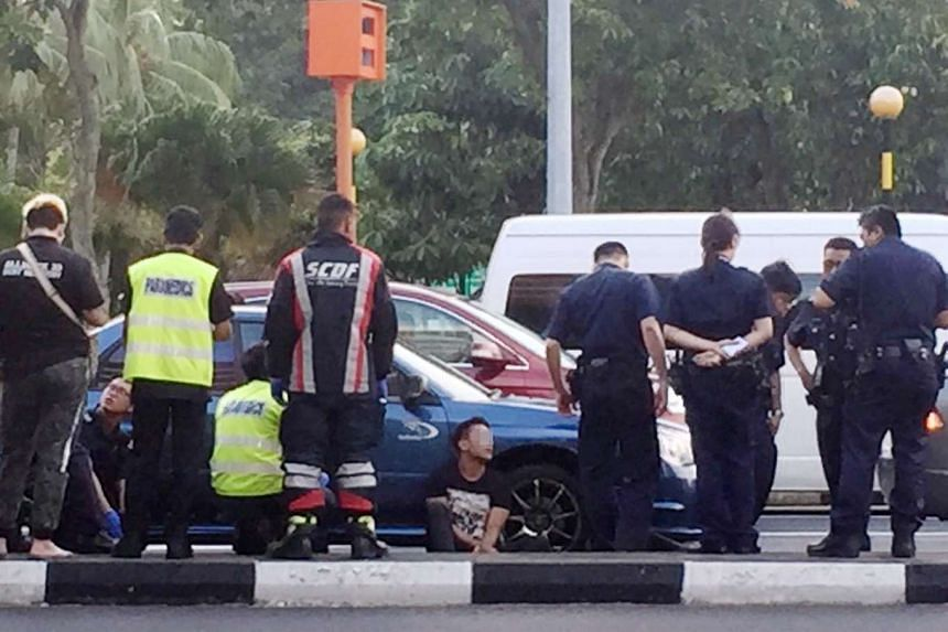 The 23-year-old rental car driver was arrested along Hougang Avenue 6.