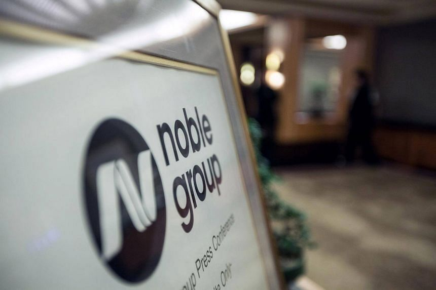The Noble Group signage sits on display outside during an investor day in Singapore.