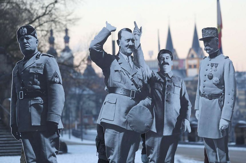 Activists placed cardboard  likeneses of Benito Mussolini, Adolf Hitler, Josef Stalin and Philippe Petain to protest a far-right leaders meeting, in Koblenz, German, on Jan 21, 2017.