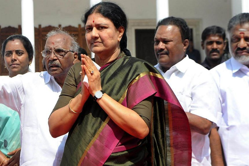 Ms V. K. Sasikala gesturing upon her arrival to take up office at the AIADMK headquarters in Chennai, on Dec 31, 2016.