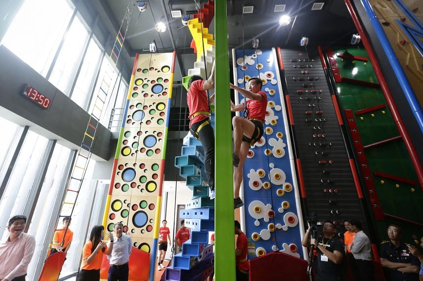 Singapore's first indoor climbing theme park Clip 'N Climb is located at the new Tampines HomeTeamNS Clubhouse.