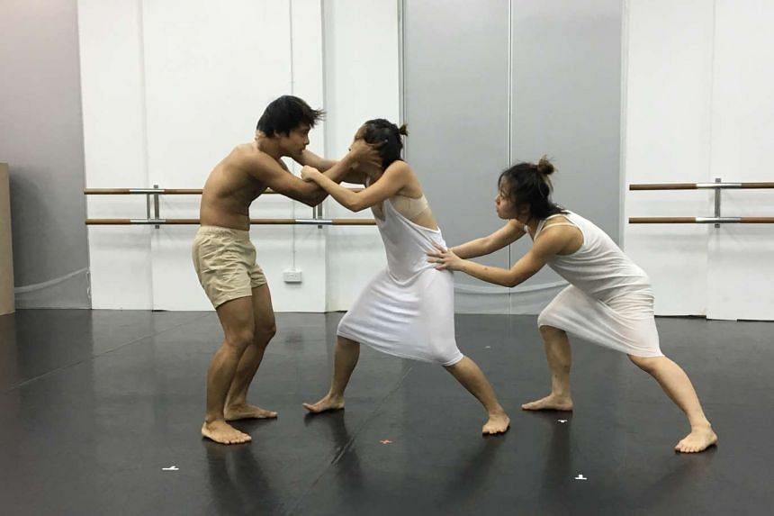 Dancers (from left) Matthew Goh, Jeryl Lee and Melyn Chow will perform in Indices Of Vanishment.