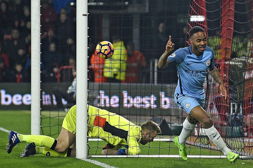 Manchester City's Raheem Sterling celebrates after scoring the 1-0 lead during the English Premier League soccer match between AFC Bournemouth and Manchester City at the Vitality Stadium, Bournemouth, Britain, on Feb 13, 2017.
