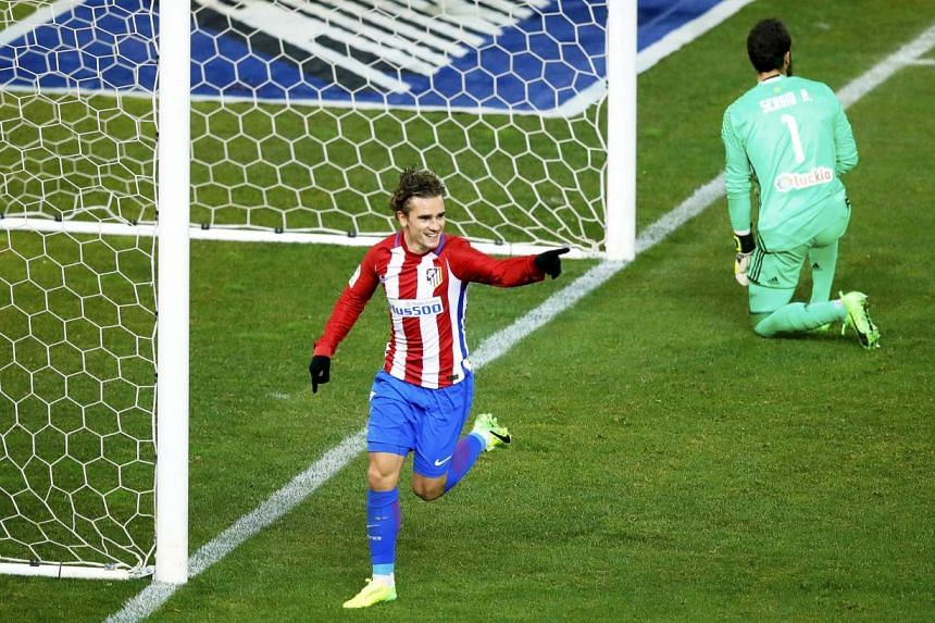 Atletico Madrid forward Antoine Griezmann celebrating after scoring against Celta Vigo during their Spanish Primera Division match on Feb 12, 2017.
