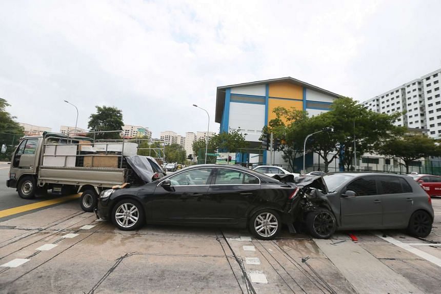 An accident involving a lorry and two cars at Buangkok Green on Feb 14, 2017.