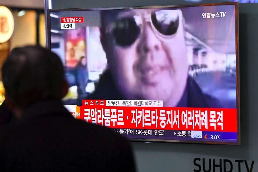 A man watching a television showing news reports of Kim Jong Nam, the half-brother of North Korean leader Kim Jong Un, in Seoul, on Feb 14, 2017.