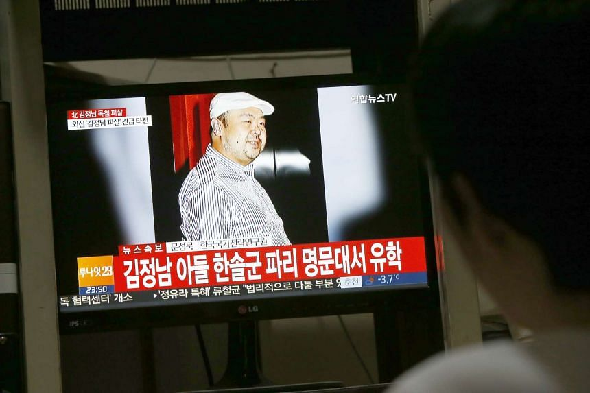 A man watching a TV programme showing news about the alleged assassination of North Korean leader Kim Jong Un's half-brother, at a home in Pyeongchang, Gangwon-do, South Korea, on Feb 14, 2017.