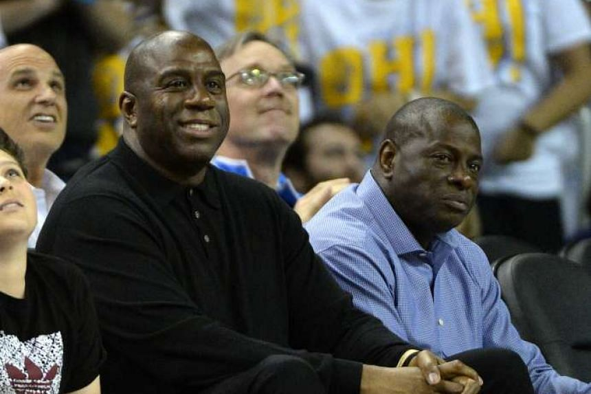 """NBA legend Earvin """"Magic"""" Johnson during the game between the UCLA Bruins and the Oregon Ducks at Pauley Pavilion in Los Angeles, California. Feb 8, 2017."""