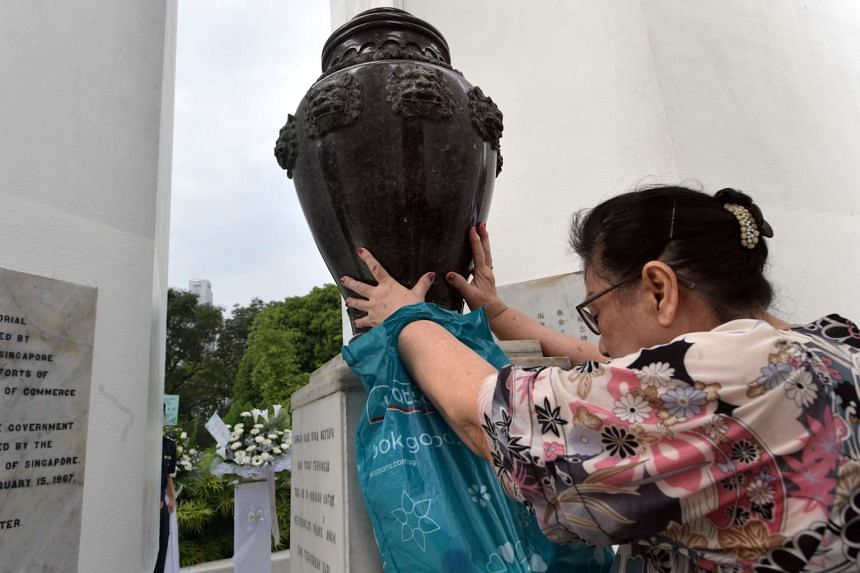 Mdm Wong Tjoei Siang, 70, visits the monument every year to pay respects to her father-in-law, who died during the war.
