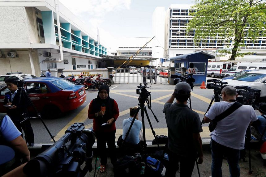 Media personnel gather outside the morgue at Kuala Lumpur General Hospital, where the body of Kim Jong Nam is held for autopsy, in Malaysia, on Feb 15, 2017.