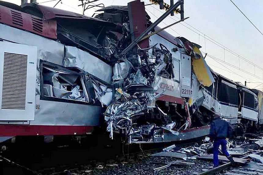 A passenger train and a freight train collided near the French border yesterday, killing one person and injuring several others. Two injured people were admitted to hospital and another six people suffered minor injuries, Luxembourg police said. The