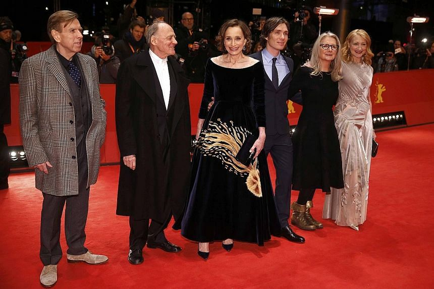 Actors (from left) Timothy Spall, Bruno Ganz, Kristin Scott Thomas and Cillian Murphy, director Sally Potter and actress Patricia Clarkson arriving for the screening of The Party in Berlin on Monday.