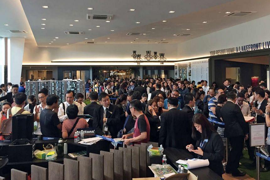 Prospective buyers at the showflat at Lake Grande, a new condominium near Jurong Lake.