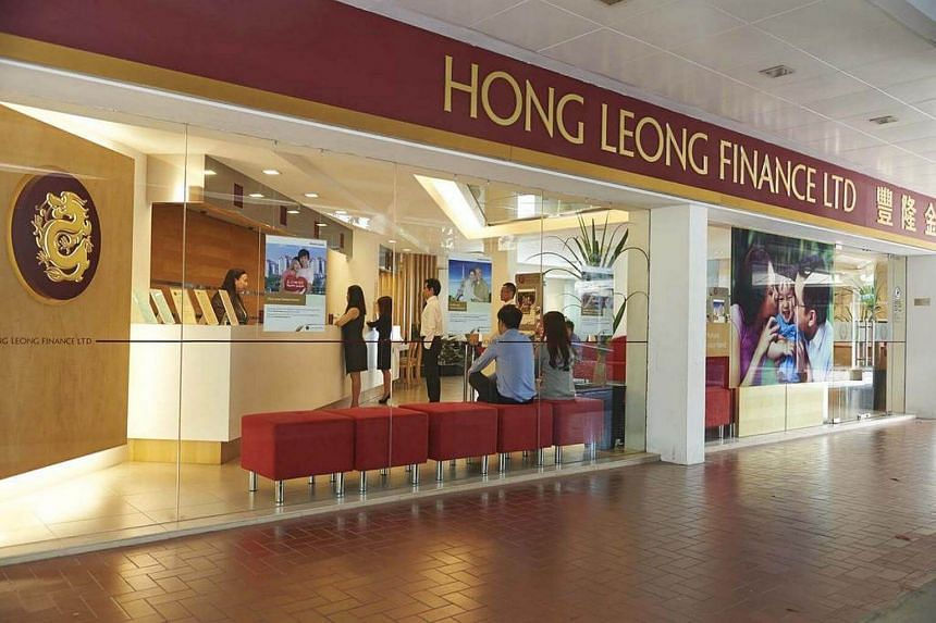 File photo of Hong Leong Finance's Clementi West branch. The finance company topped the gainers, surging 26 cents or 11.4 per cent to $2.54 after the Monetary Authority of Singapore announced it will relax some rules.