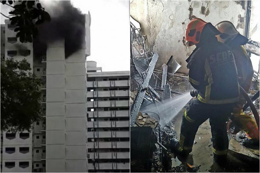 The fire broke out in a 13th floor unit at Block 248 Compassvale Road.