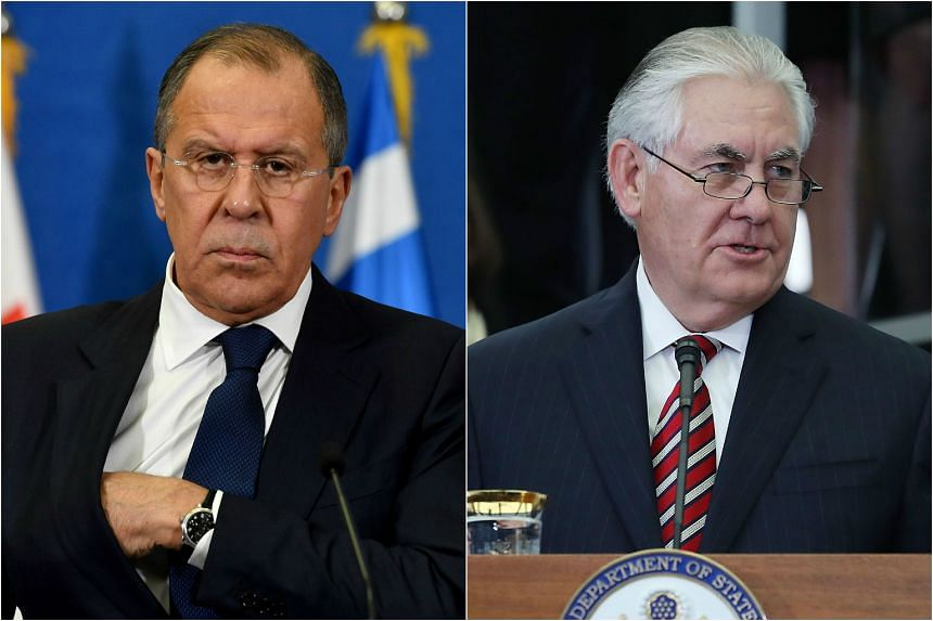 """The first meeting between Russian Foreign Minister Sergei Lavrov (left) and his US counterpart Rex Tillerson """"has been planned and is being prepared"""", said a foreign ministry spokesman."""