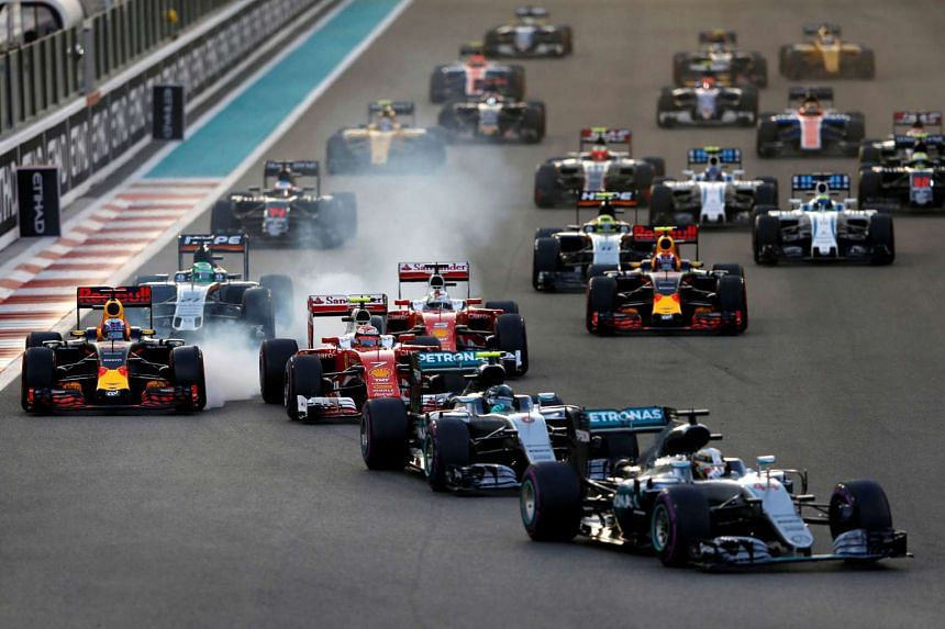 Mercedes' Formula One driver Lewis Hamilton leads the pack during the Abu Dhabi Grand Prix.