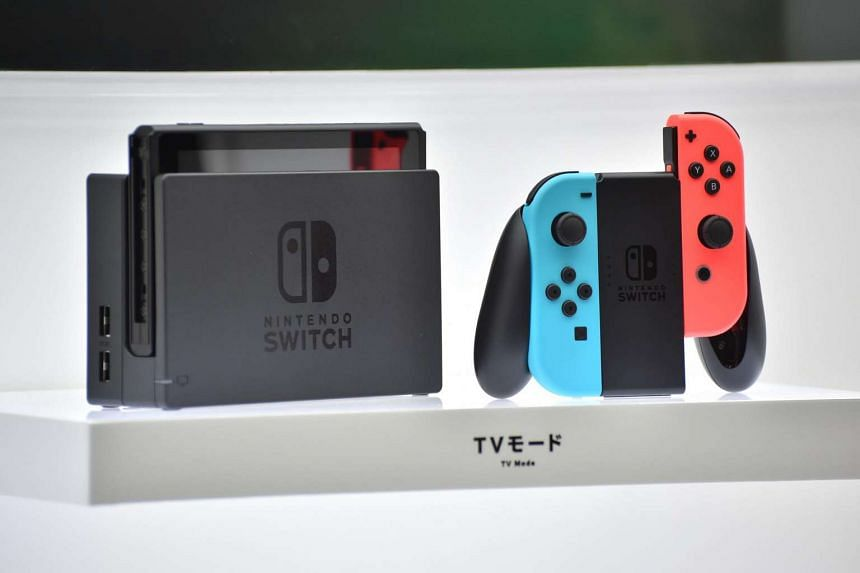 Nintendo's new video game console Switch is displayed at a presentation in Tokyo on Jan 13, 2017.