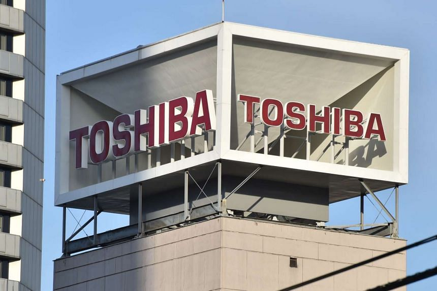 The logo of Japan's Toshiba is displayed at the company's headquarters in Tokyo, on Jan 27, 2017.