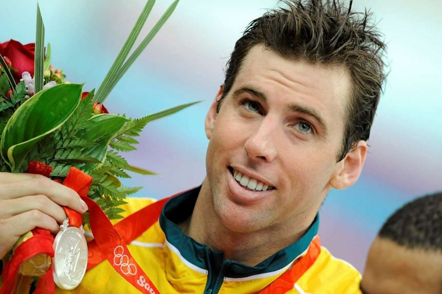 Grant Hackett of Australia holding his silver medal for the men's 1500m freestyle swimming final during the Beijing 2008 Olympic Games on Aug 17, 2008.