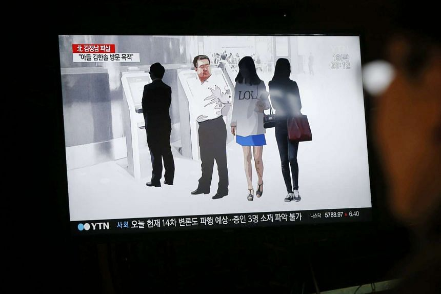 A news programme showing how the alleged assassination of Kim Jong Nam took place is shown on a TV screen in Pyeongchang, Gangwon-do, South Korea, on Feb 15, 2017.