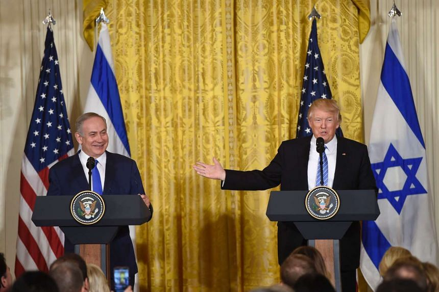 US President Donald Trump and Israeli Prime Minister Benjamin Netanyahu hold a joint press conference.