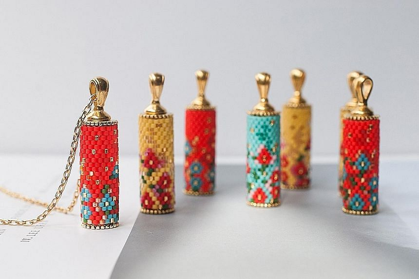 Hand-woven capsule necklaces with 24k gold chain,$249 each