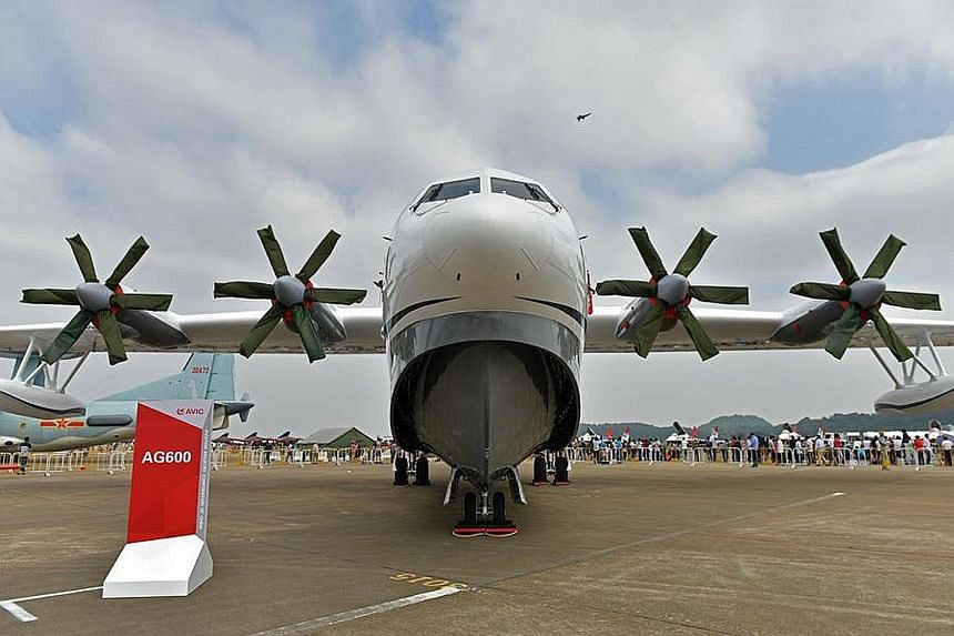 The AG600, which is the world's largest amphibious aircraft, on display at the 11th China International Aviation and Aerospace Exhibition in Guangdong late last year. Production of the aircraft, which has a maximum flight range of 4,500km, was comple